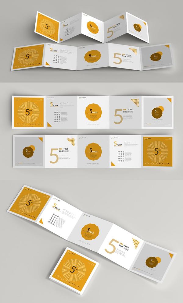 Fold Square Brochure Mockups