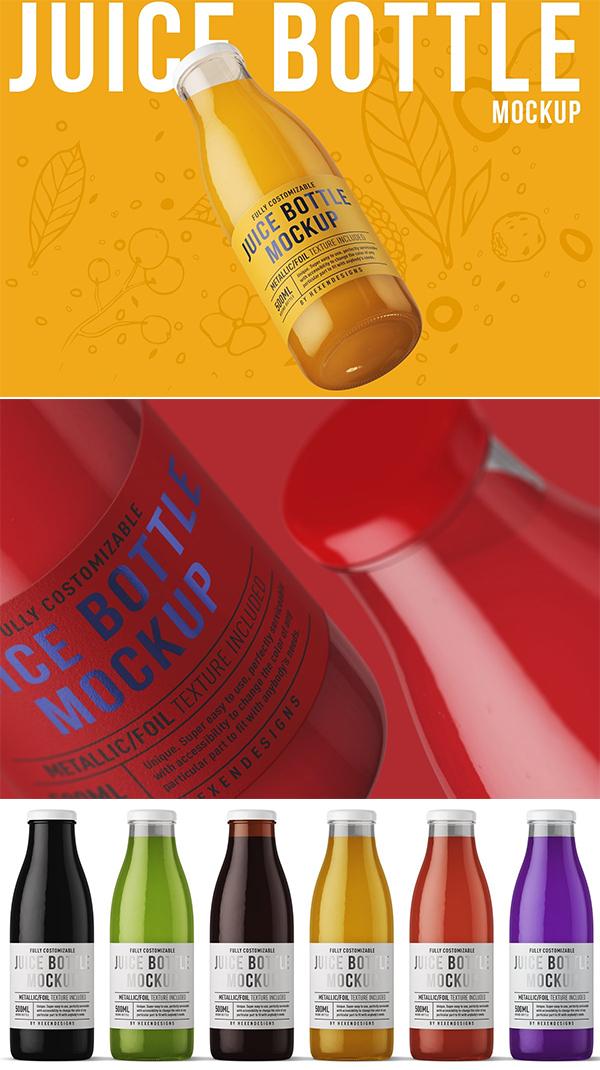 Juice Round Bottle Mockup