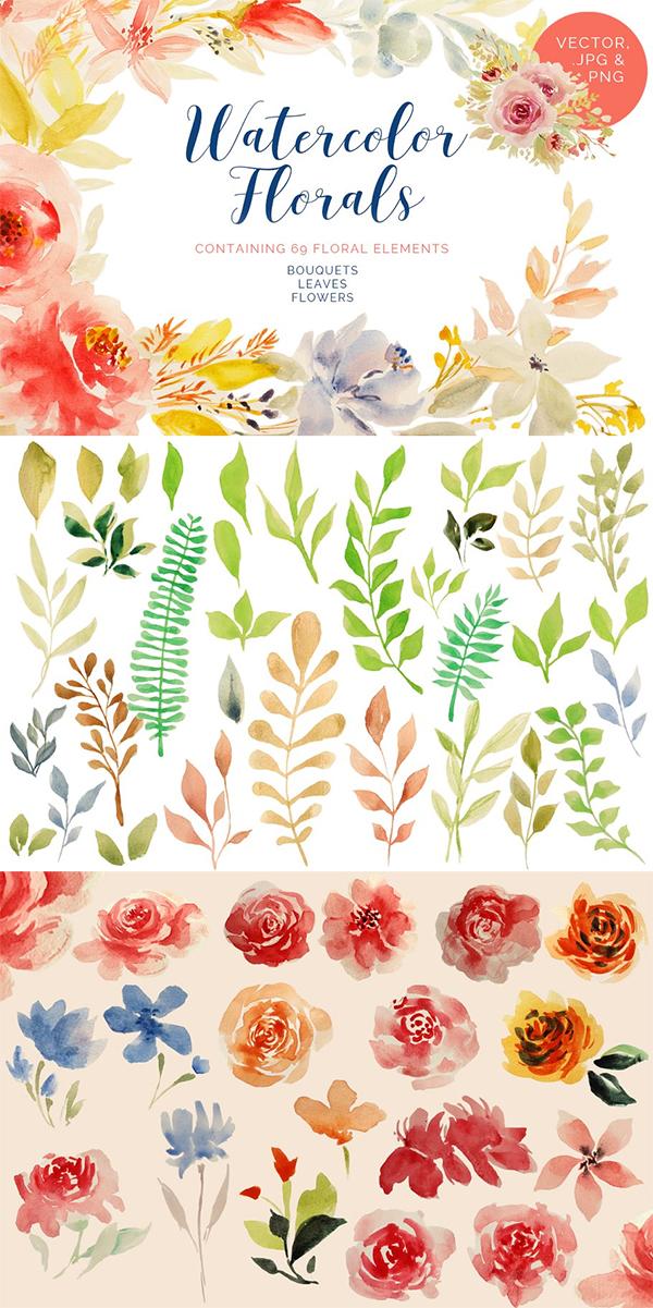 Watercolor Florals Bundle