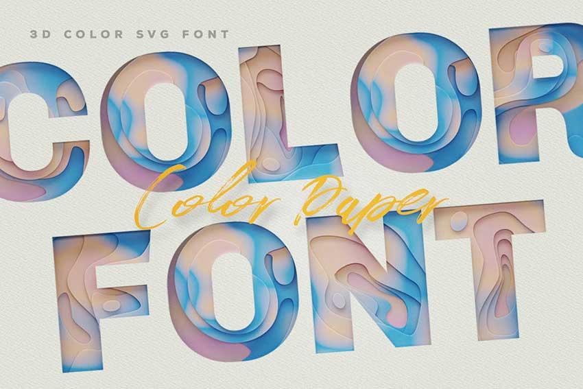 Color Paper 3D SVG Color Font