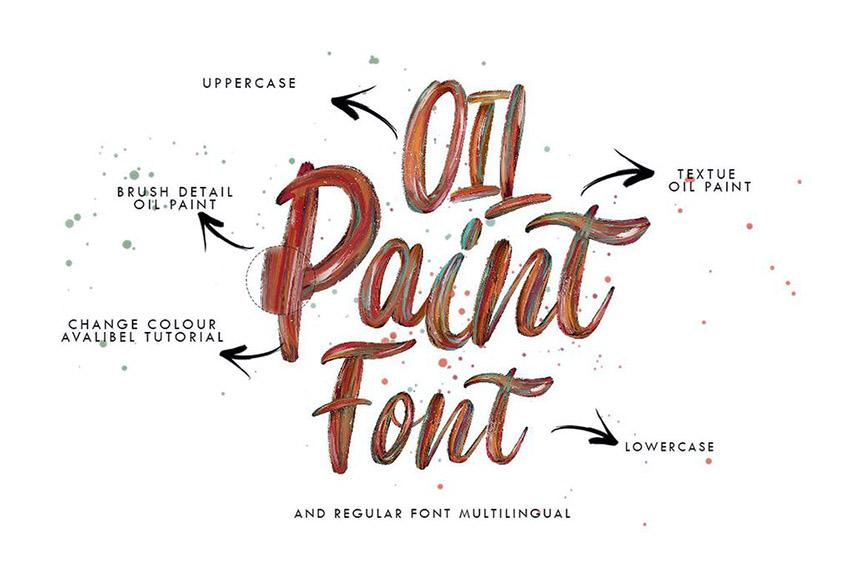 Oil Paint Flow Color Bitmap Font