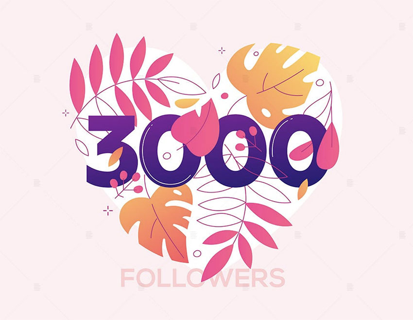 3000 Followers Heart Vector Image