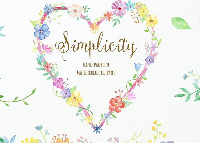 Watercolor Heart Clip Art Simplicity Collection
