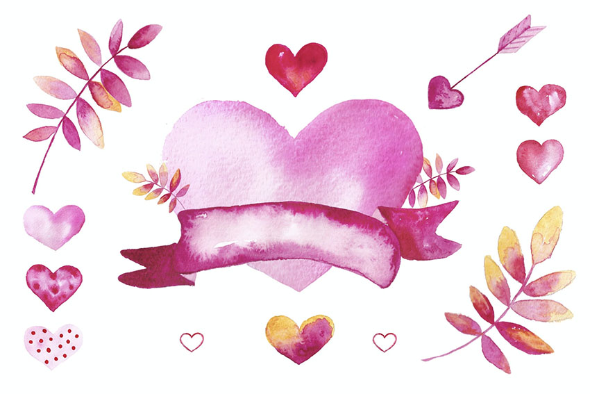 Watercolor Valentine Heart Graphic