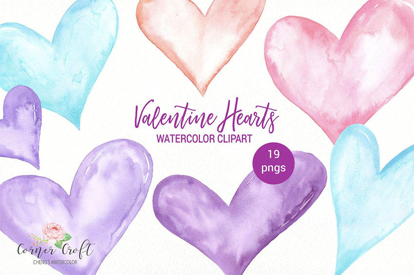 Watercolor Valentine Heart Graphics