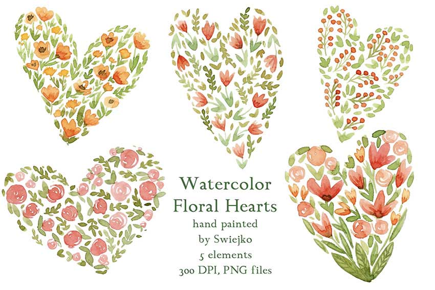Watercolor Floral Heart Art