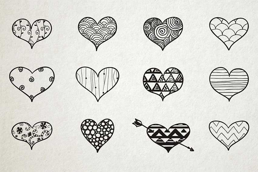 Hand Drawn Heart Vector Set