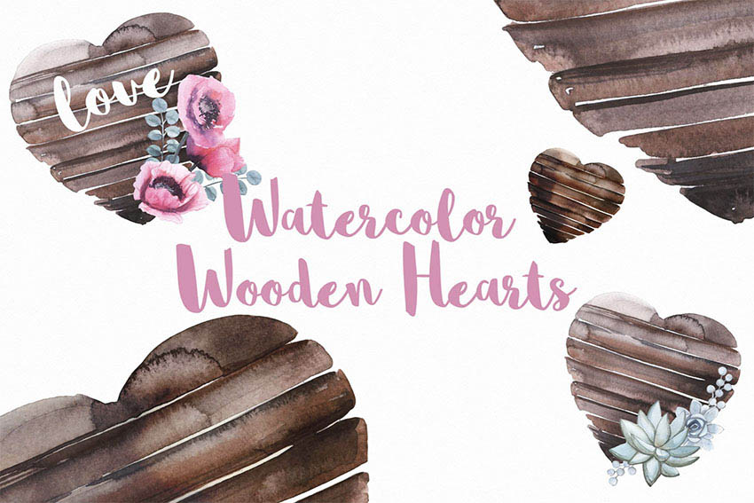 Watercolor Wooden Heart Graphics