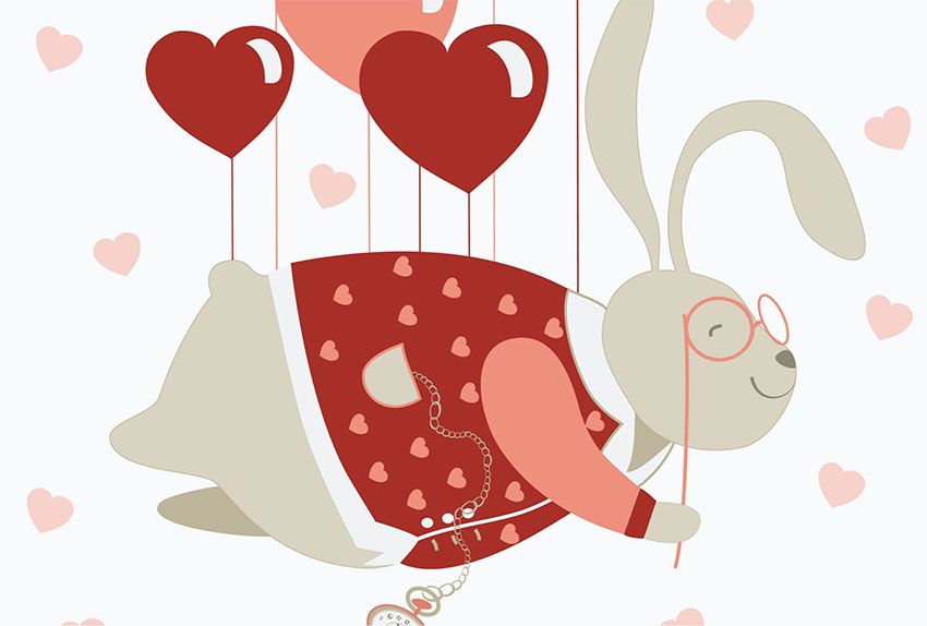 Cute Rabbit Heart Illustration Graphic