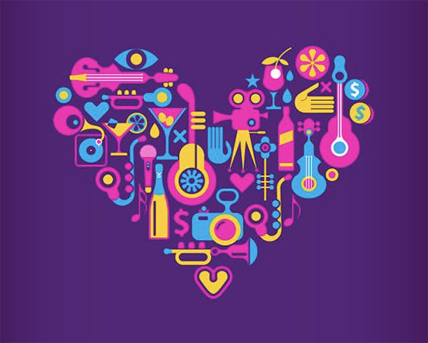 4 Disco Party Heart Shape Vector Designs