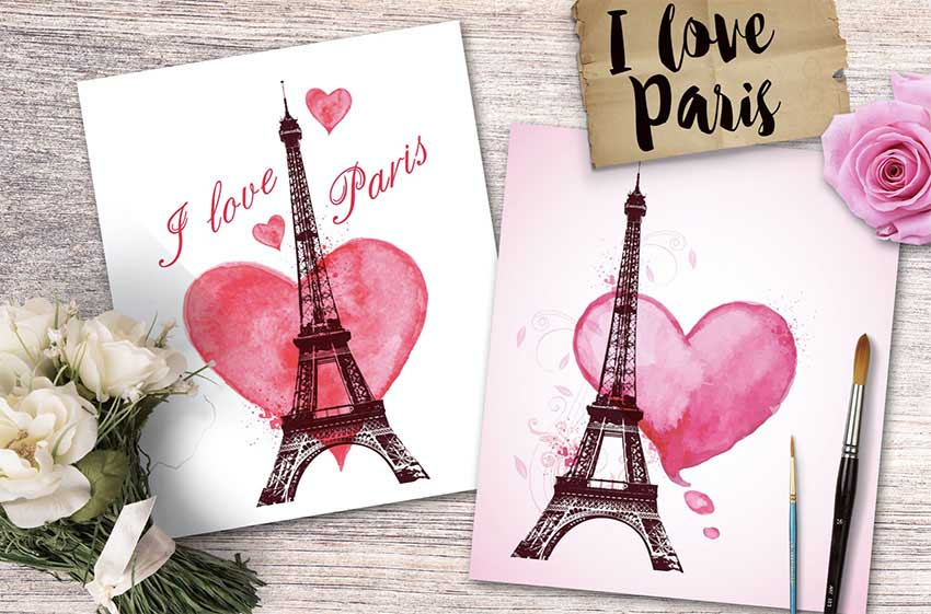 I Love Paris Romantic Cards