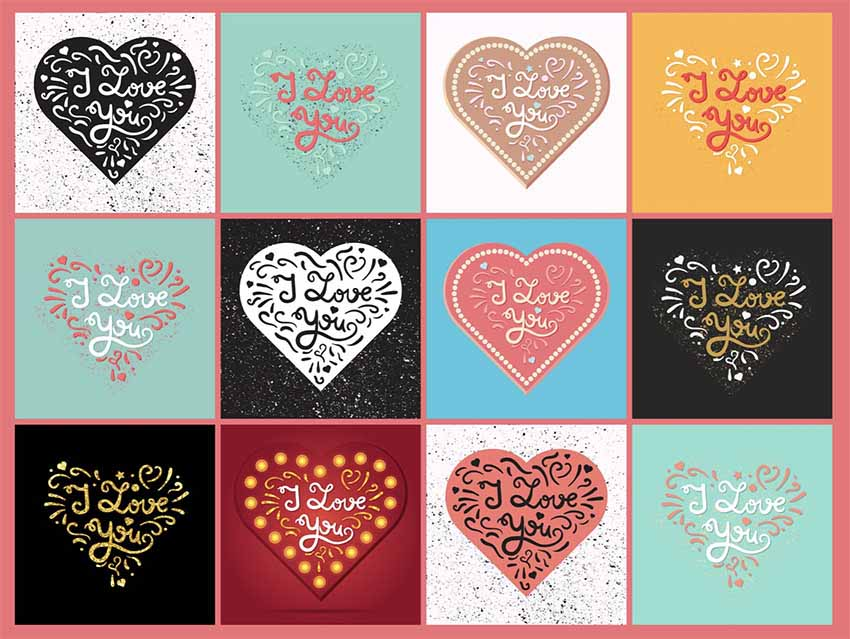 I Love You Heart Text Art