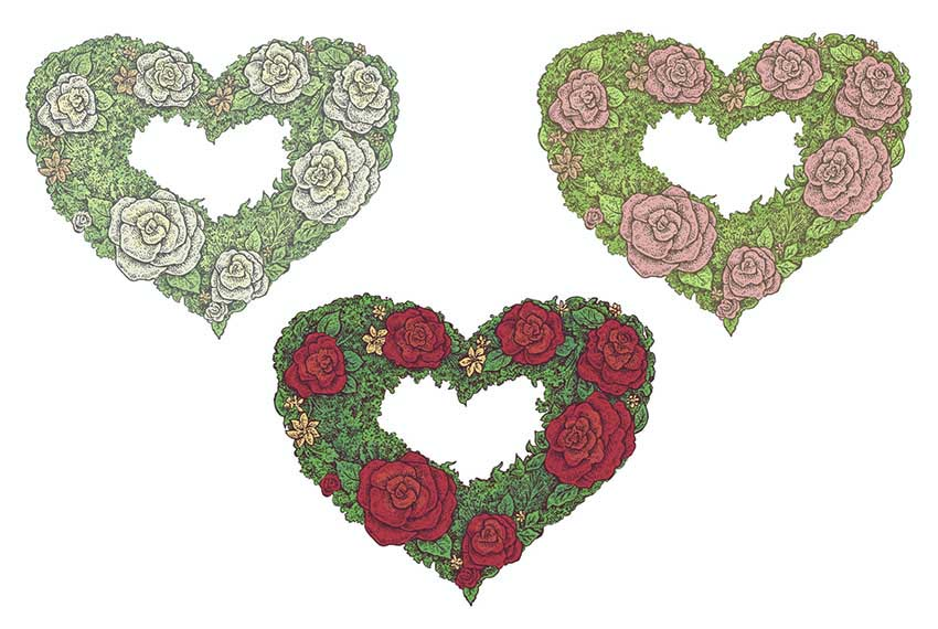 Vector Floral Heart Vector Art