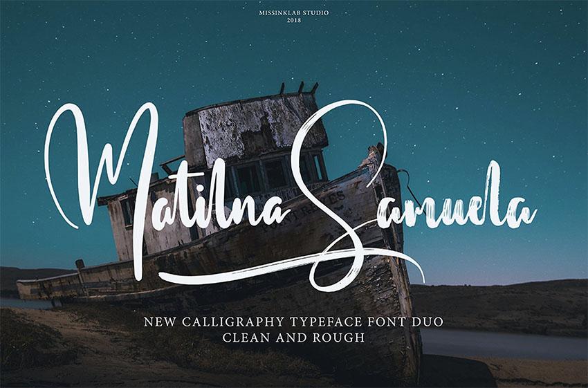 Matilna Samuela Script Monogram Font Duo
