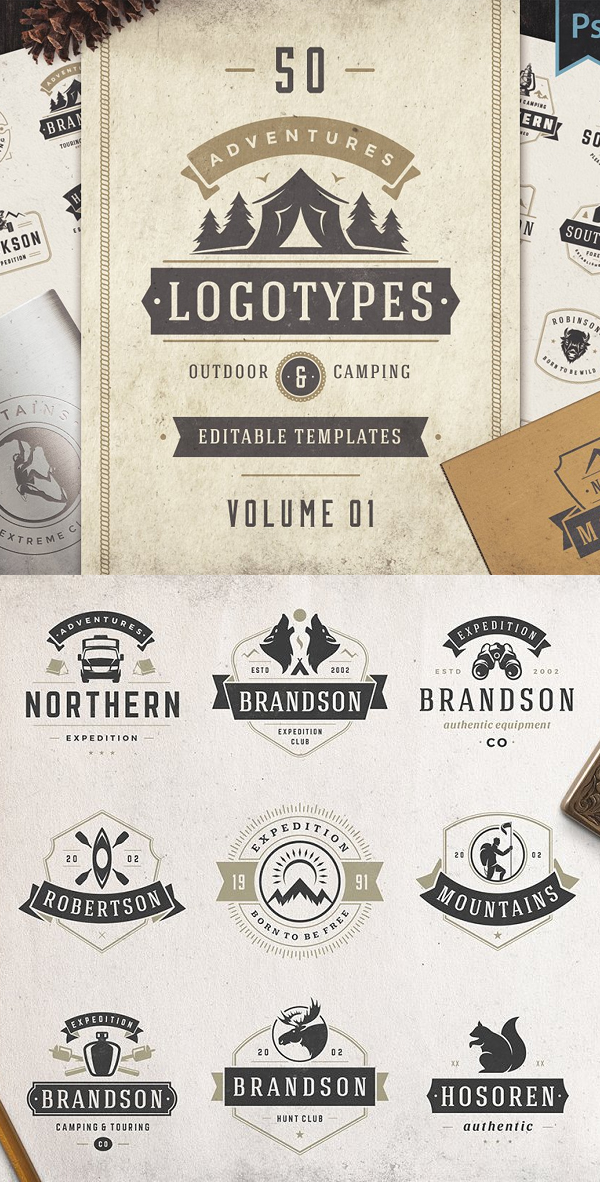 50 Outdoor logos and badges
