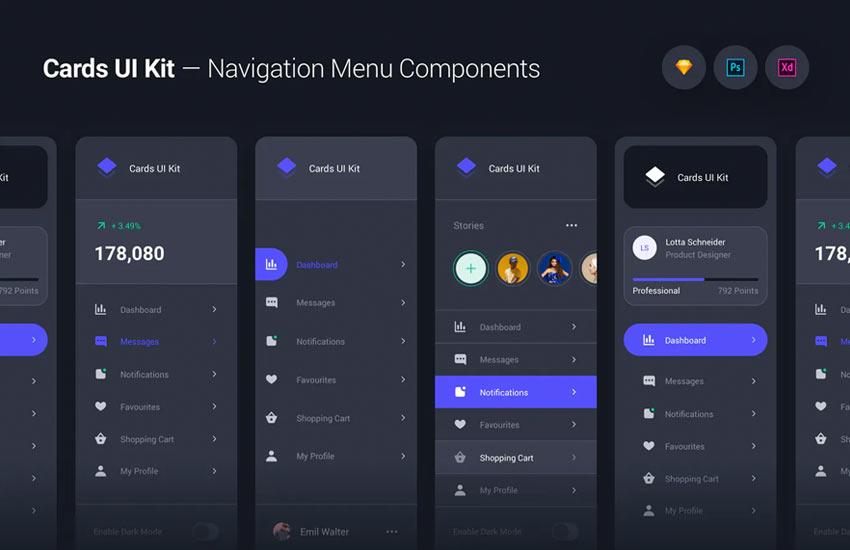 Cards UI Kit - Navigation Menu Components Widgets