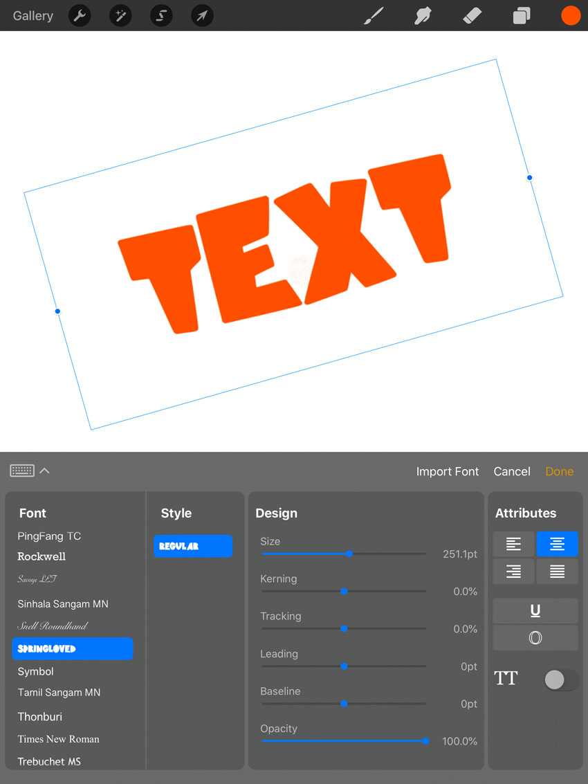 procreate fonts