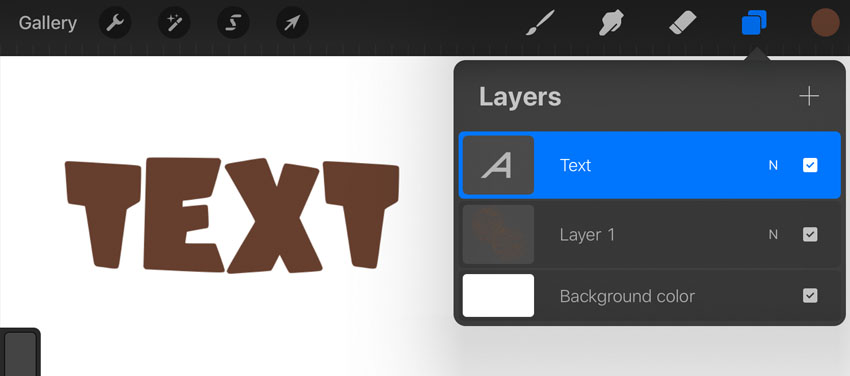 Procreate text layer