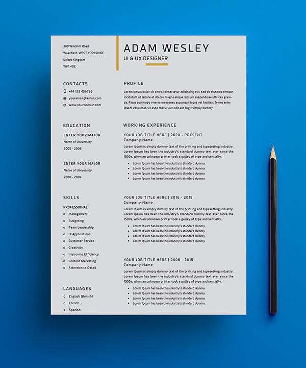 Free Simple Resume Template -1