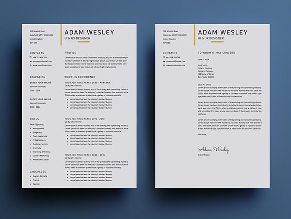 Free Simple Resume Template Design