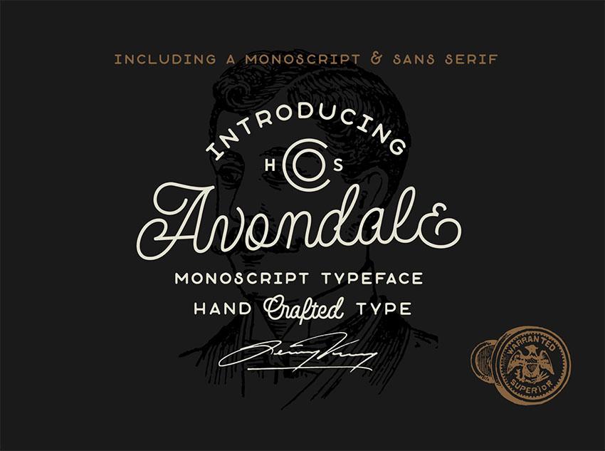 Avondale Monoscript vintage cursive font
