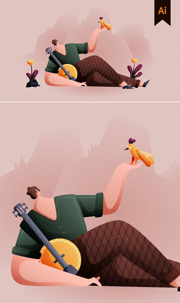 How to Add Grain and Noise Texture in Character Illustration