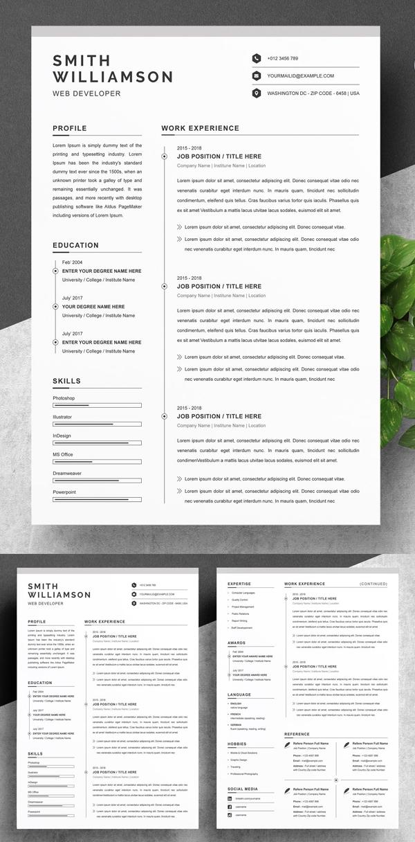 Clean Resume / CV Template MS Word