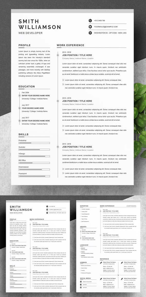 Clean Resume / CV Template MS Word