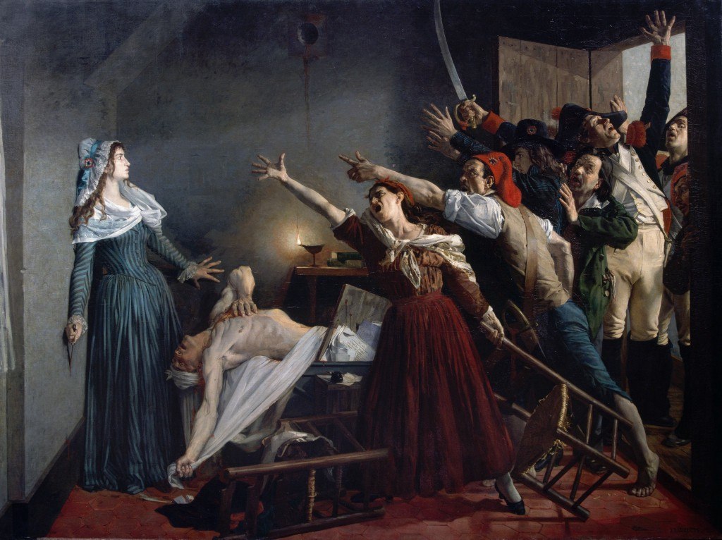 Image caption: Painting of the assassination of Jean-Paul Marat by Girondist sympathizer Charlotte Corday on 13 July 1793