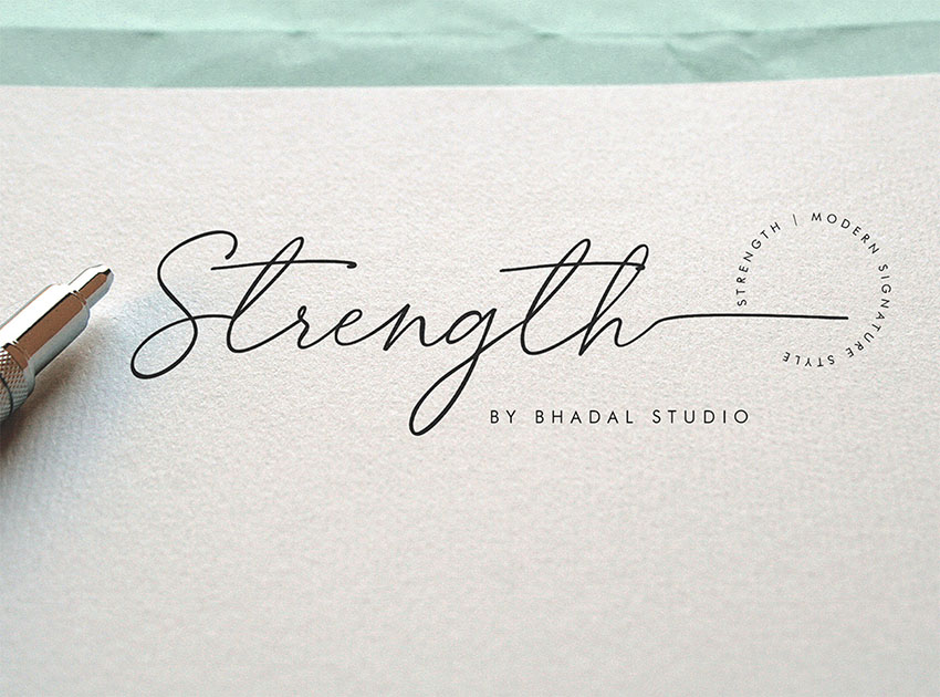 Strength Signature Like Font
