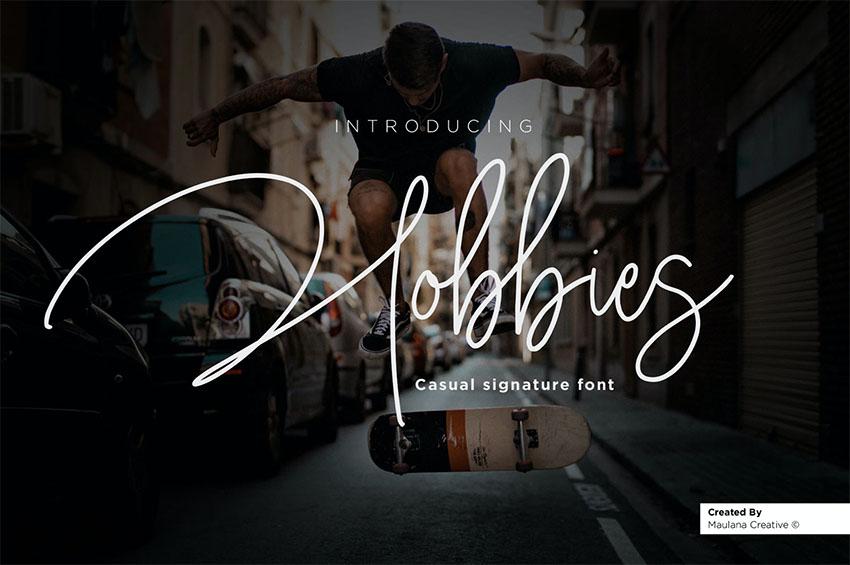Hobbies Signature Script Font