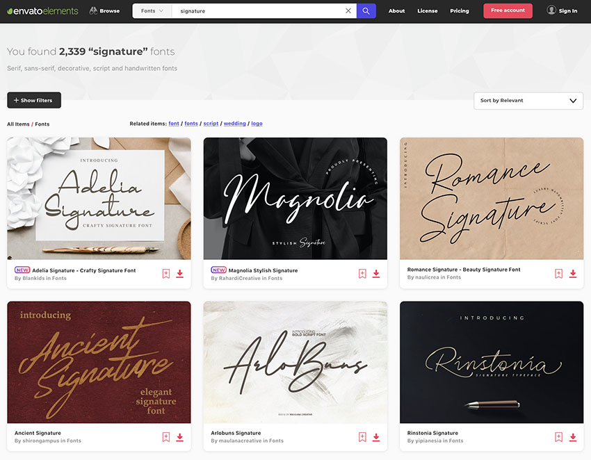 Unlimited Signature Font Downloads at Envato Elements