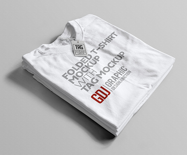 Free Folded White T-Shirt Mockup PSD