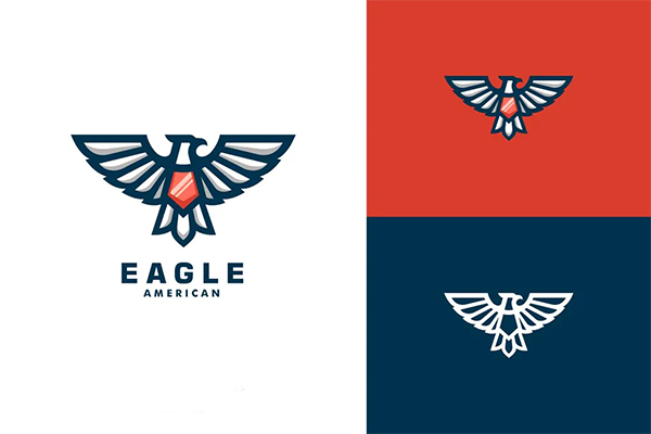 Eagle Mascot Line Art Style Logo Template