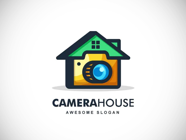 Home and Camera Color Line Art Logo Design