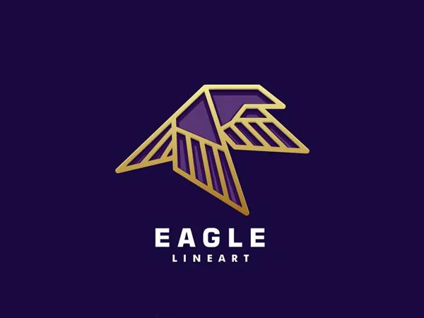 Eagle Color Line Art Logo Design