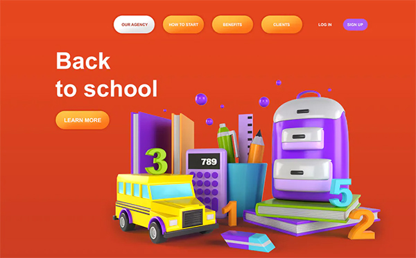 Back to School 3D Illustration Landing Page