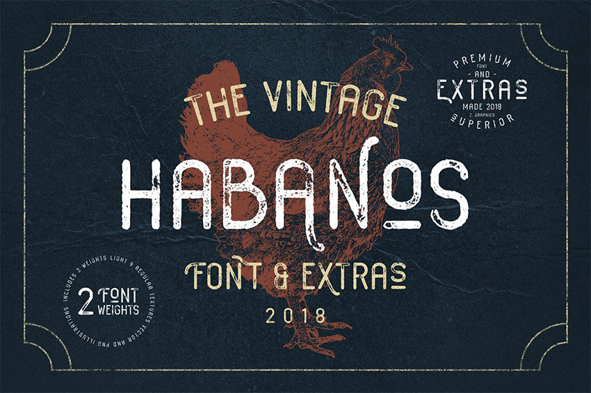 Habanos Retro Distressed Typewriter Font