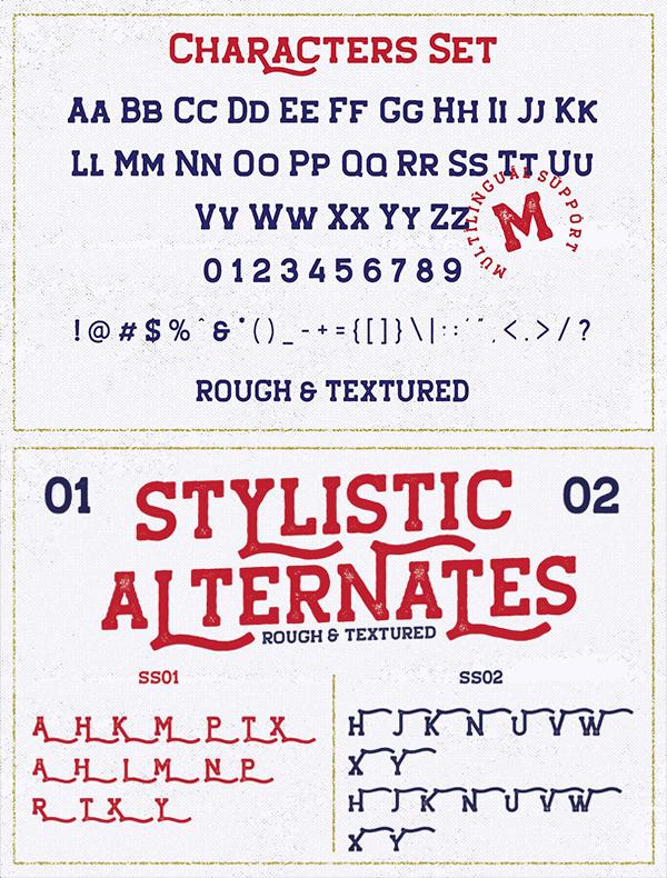 Hansel Slab Serif Rough Font Letters