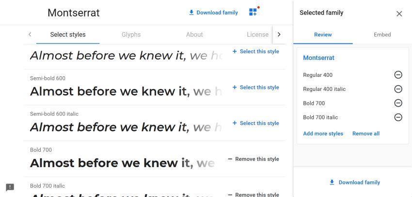 Add Google Fonts from CDN