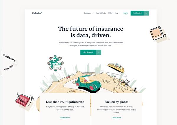 Rideshur - Illustation in Website Design