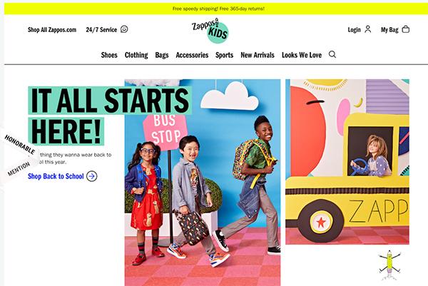Zappos Kids - Illustation in Website Design