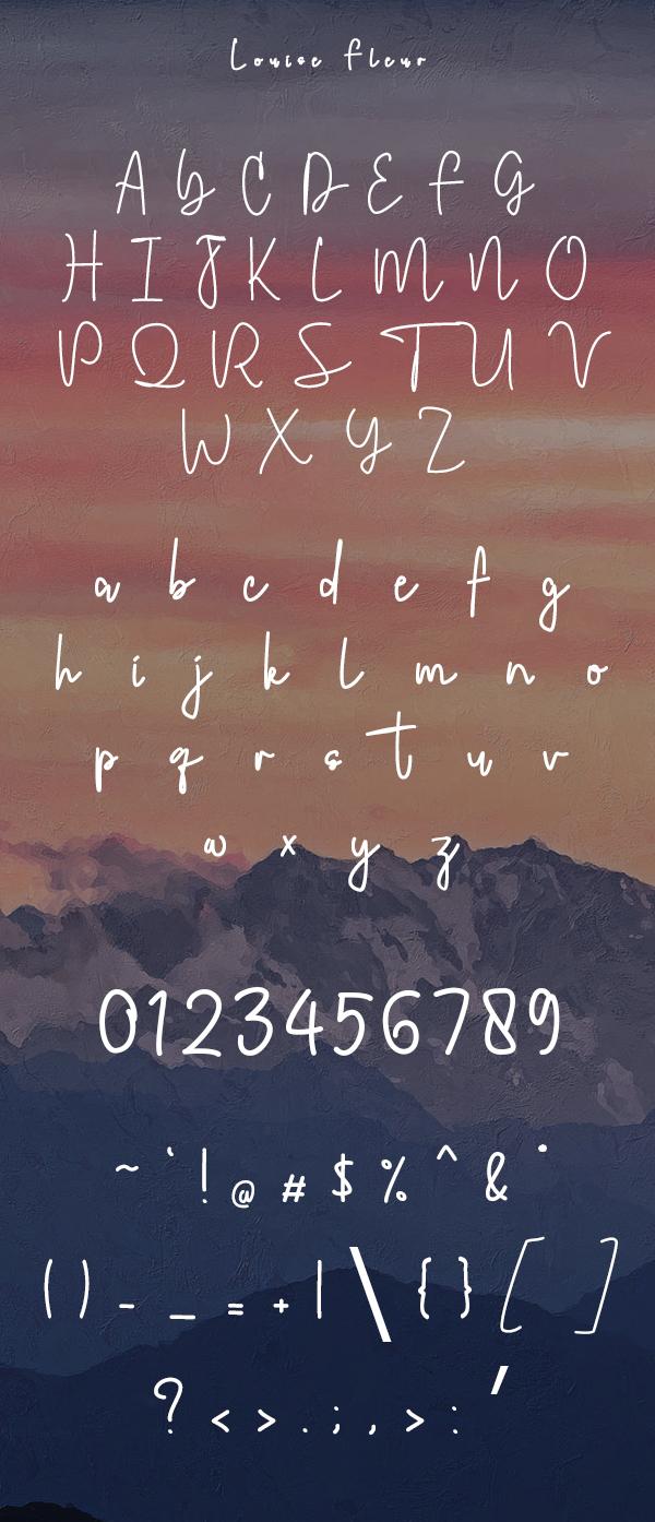 Louise Fleur Handwritten Font Letters