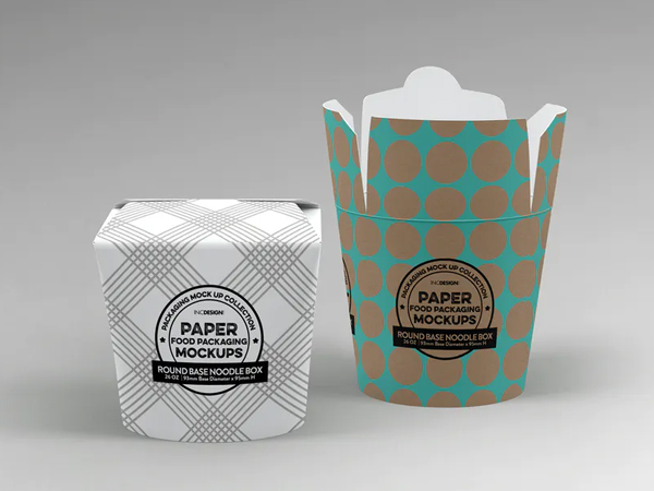 Round Base Noodle Box Packaging Mockup