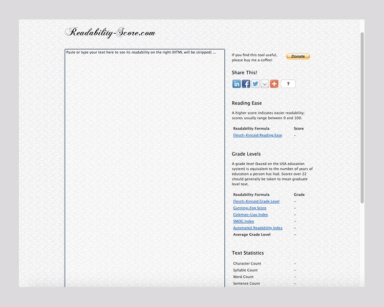 Screenshot of readability-score.com