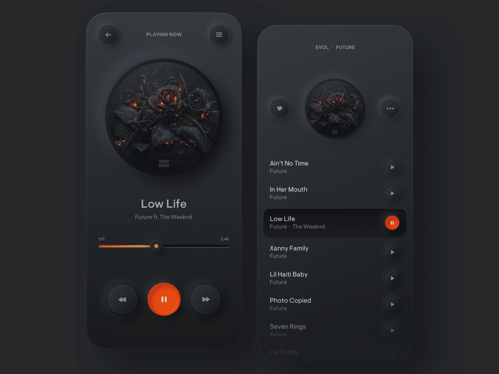 Dark mode design of music player. Orange on black makes for quite okay contrasts.
