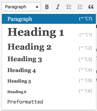 Dropdown in WordPress admin interface with Heading 1 through 6 and paragraph.