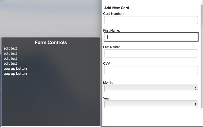 Screenshot of an inaccessible form