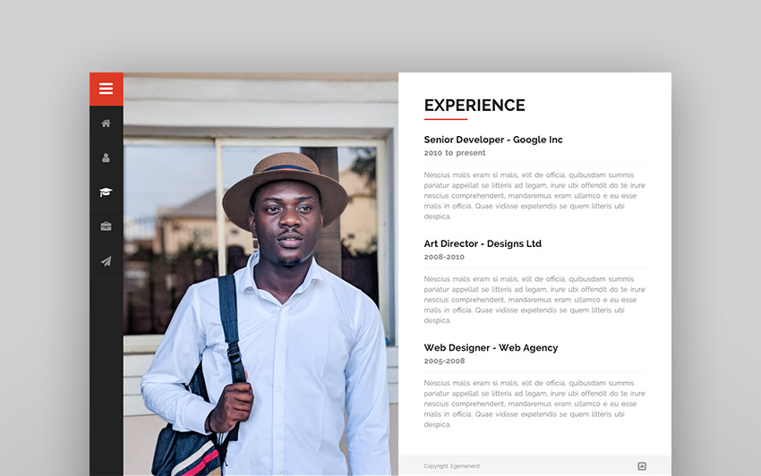 Divergent - Personal Vcard Resume WordPress Theme