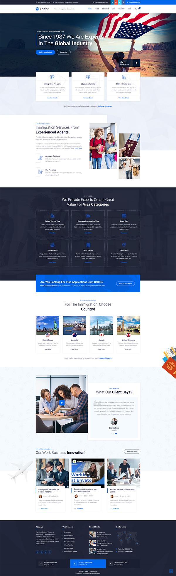 Tripzia – Immigration Consulting WordPress Theme